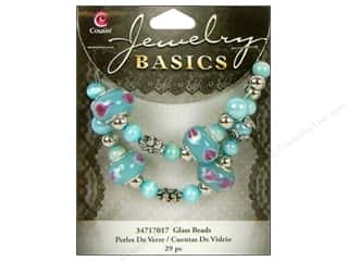 Cousin Bead Glass Lg Hole Mix Aqua 29pc