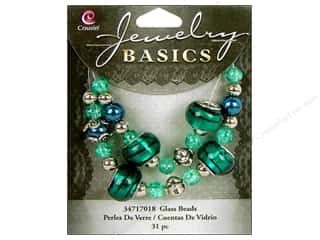 Cousin Bead Glass Lg Hole Mix Teal 31pc