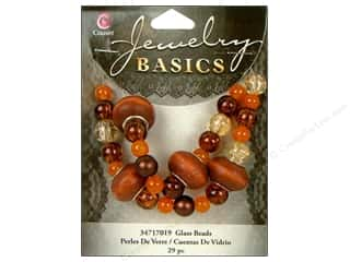 Cousin Bead Glass Lg Hole Mix Brown 29pc