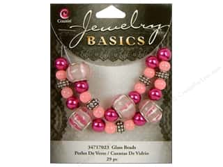 Cousin Bead Glass Lg Hole Mix Pink/Purple 29pc