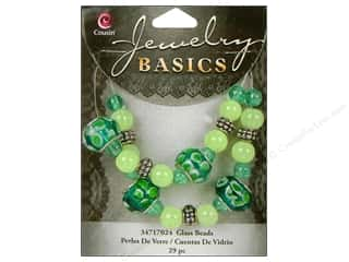 Cousin Bead Glass Lg Hole Mix Teal/Green 29pc