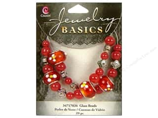 Cousin Bead Glass Lg Hole Mix Red Flowers 29pc