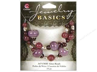 Cousin Bead Glass Lg Hole Mix Purple 33pc