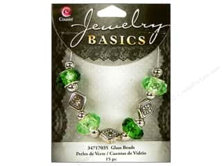 Cousin Bead Glass Large Hole Mix Facet Green 15pc