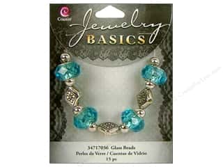 Cousin Bead Glass Large Hole Mix Facet Aqua 15pc
