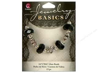 Cousin Bead Glass Large Hole Mix Facet Black 15pc