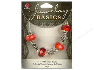Papers $10 - $15: Cousin Basics Glass Mix Beads Large Hole Facet Red 15 pc.