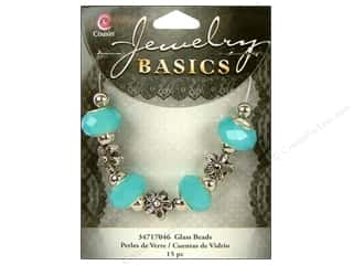 Cousin Bead Glass Large Hole Mix Facet Opaque Aqua 15pc