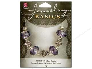 Cousin Bead Glass Large Hole Mix Facet Tanzanite 15pc