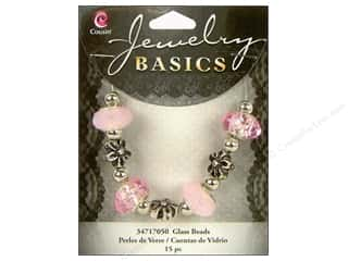 Cousin Bead Glass Lg Hole Mix Facet Pink 15pc