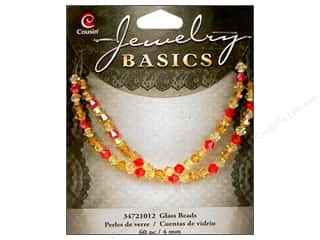 Cousin Corporation of America Clearance Crafts: Cousin Basics Glass Beads 4 mm Bicone Crystal Orange & Red 60 pc.