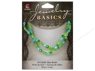 Cousin Basics Glass Beads 4 mm Bicone Crystal Green & Aqua 60 pc.