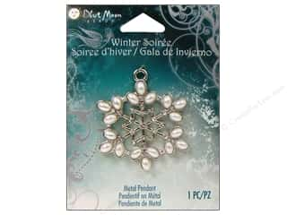 Blue Moon Metal Pendant Silver Snowflake with Pearls