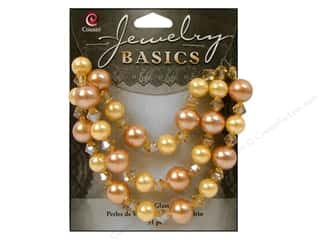 Cousin Bead Glass Pearl/Crystal Mix 8-10mm Gold/Yellow 51pc