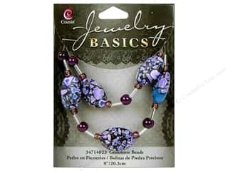 Semi-precious Stone Beads: Cousin Bead Gemstone Oval Mix Purple 8""
