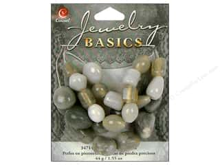 Semi-precious Stone Beads: Cousin Basics Gemstone and Glass Beads 1.55 oz. Light Grey