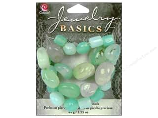 Semi-precious Stone Beads: Cousin Bead Gemstone Glass Aqua 1.55oz