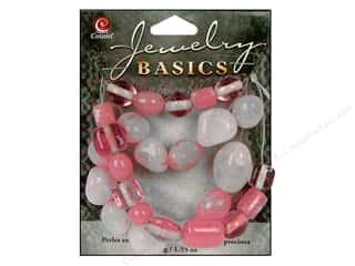 Semi-precious Stone Beads: Cousin Basics Gemstone and Glass Beads 1.55 oz. Pink