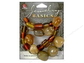 Semi-precious Stone Beads: Cousin Basics Gemstone and Glass Beads 1.55 oz. Dark Topaz