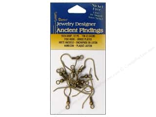 "Darice JD Earring Fish Hook 1"" Antique Brass 12pc"