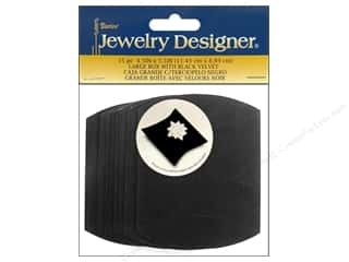 "Darice Jewelry  Box 4.5""x 3.5"" Lg Blk Velvet 15pc"