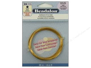 Fibre-Craft wire: Beadalon German Style Wire 26ga Round Gold 65.6 ft.