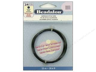 Beadalon German Style Wire 24ga Round Hematite 39.4 ft.