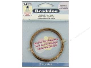 "Brass Rings 12"": Beadalon German Style Wire 24ga Round Antique Brass 39.4 ft."