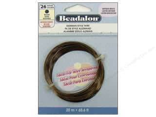 Beading & Jewelry Making Supplies: Beadalon German Wire 26ga Round Antique Brass 65.6 ft.