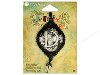 "Blue Moon Metal Pendant Black Letter ""D"""