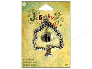 "ABC & 123 Beading & Jewelry Making Supplies: Blue Moon Beads Metal Pendant Jewelry Tree Silver Letter ""H"""