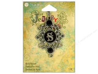 "pendants jewelry: Blue Moon Metal Pendant Oxidized Silver Letter ""S"""