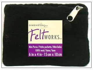 Fabric Bags / Purses: Dimensions 100% Wool Blanks FW Purse Mini Black