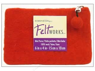 Fabric Bags / Purses: Dimensions 100% Wool Blanks FW Purse Mini Red