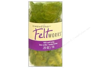 felt: Dimensions Feltworks 100% Wool Roving Curly Variegated Green