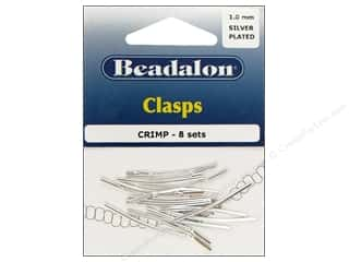 Beadalon Crimp Clasp 1mm Silver 8 sets