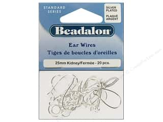 beadalon earring: Beadalon Ear Wires Kidney 25mm Silver Plated 20pc