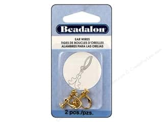 Beadalon Ear Wires Clip 4mm Ball/Ring Gold Plate 2pc