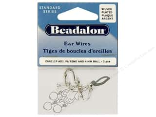 beadalon earring: Beadalon Ear Wires Clip 4 mm Ball/Ring Silver Plated 2 pc.