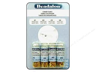 Clearance Blumenthal Favorite Findings: Beadalon Crimp Tube Value Pack Size 1-4 Gold Plated 600pc