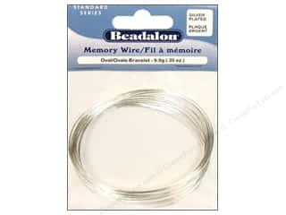 Beadalon Plated Steel Memory Wire Oval Bracelet Silver .35 oz.