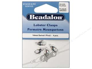 Beadalon Lobster Clasps Swivel 14mm Silver Plated 4pc