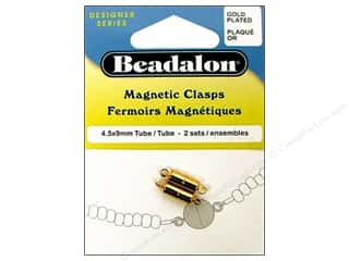 beadalon clasp: Beadalon Clasp Magnetic Tube 4.5x9mm Gold 2pc