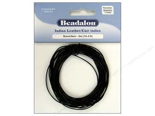 Cording $5 - $10: Beadalon Indian Leather Cord 1.0 mm (.039 in.) Black 5 m (16.4 ft.)