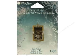 Chains Winter: Blue Moon Beads Metal Pendant Winter Soiree Oxidized Brass Bear