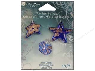 Blue Moon Beads Glass Charms Star/Snowflake 3pc Blue