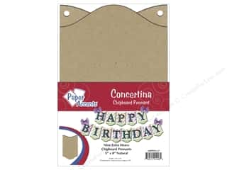"Paper Accents Chipboard Pennants Concertina 5""x 8"" Natural 9pc"