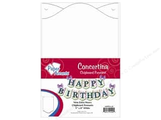 "Paper Accents Chipboard Pennants Concertina 5""x 8"" White 9pc"