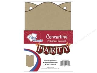 "Paper Accents Chipboard Pennants Concertina 4""x 6"" Natural 9pc"