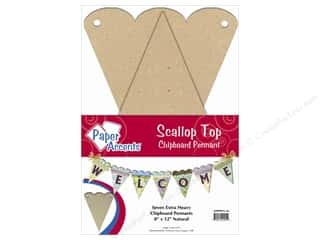 Eco Friendly /Green Products Paper Accents Chipboard Pennants: Paper Accents Chipboard Pennants 8 x 12 in. Scallop Top 7 pc. Kraft